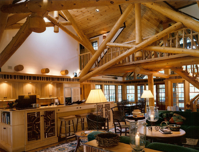 Adirondack Style Home Traditional Living Room