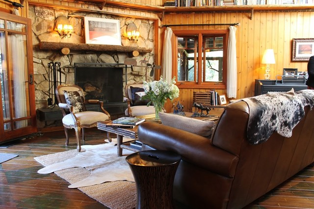 adirondack style lodge rustic living room by madison