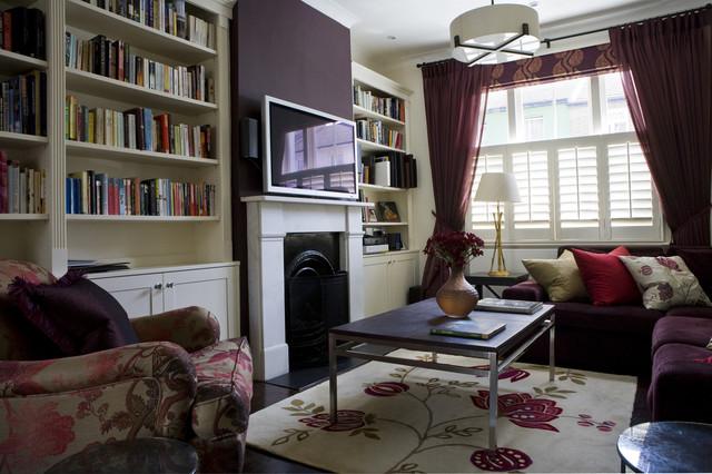 Adrienne chinn design contemporary living room for Aubergine living room ideas