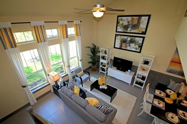 Aerial living room view modern living room austin for Hi tech living room designs