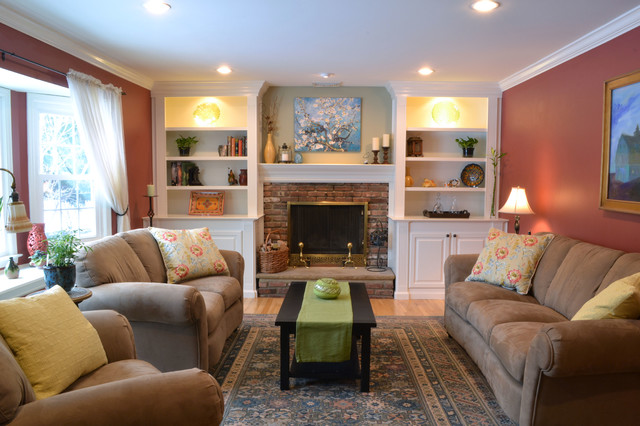 After Custom Built Ins Traditional Living Room