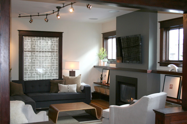 AFTER: New FIreplace with TV transitional-living-room