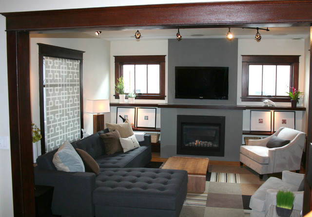 After New Fireplace With Tv Transitional Living Room Minneapolis