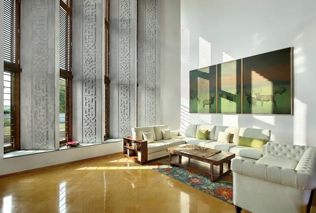 Ajay Patel House asian-living-room