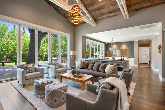 Perfect Living Room   Mid Sized Country Open Concept Medium Tone Wood Floor Living  Room Idea