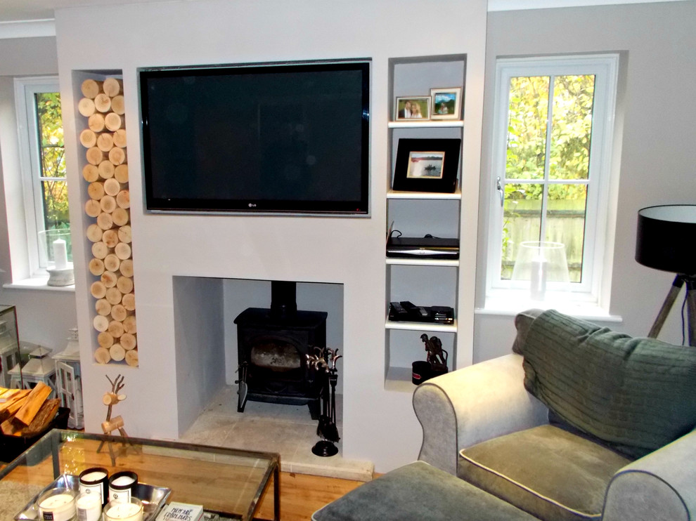 Alcove Space In A Chimney Breast Modern Living Room Gloucestershire By The Log Basket
