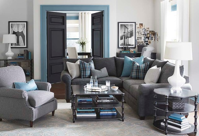Alex L Shaped Sectional Living Room By Bassett Furniture