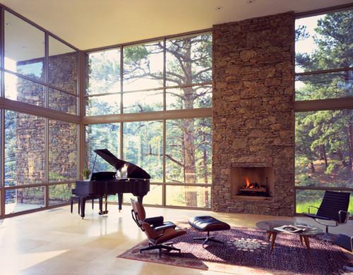 Habitaciones con vistas decoraci n retro for Grand piano in living room layout