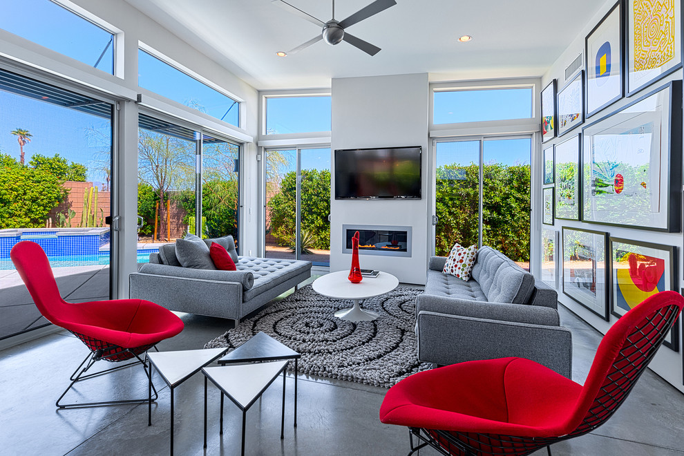 Inspiration for a mid-century modern living room remodel in Other