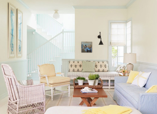 traditional living room Pretty in Pastels