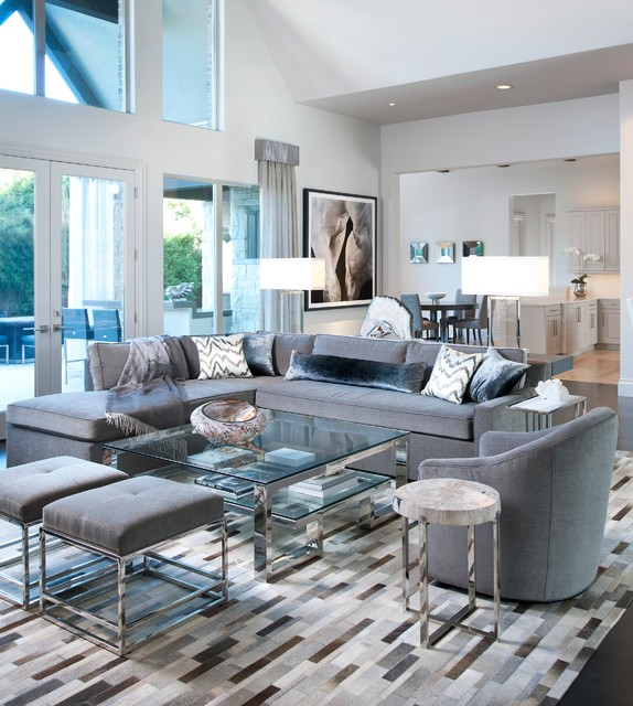 all the shades of gray transitional living room