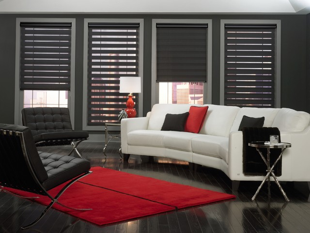 Allure Transitional Shades - Contemporary - Living Room - miami - by Total Window, Inc.