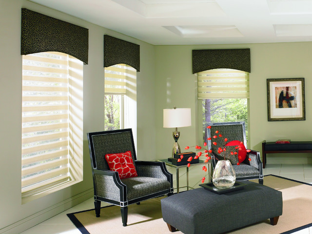 Allure transitional shades contemporary living room miami by total window inc for Contemporary window treatments for living room