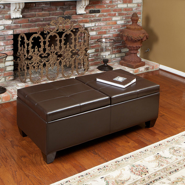 Alpine Brown Leather Storage Ottoman modern-living-room
