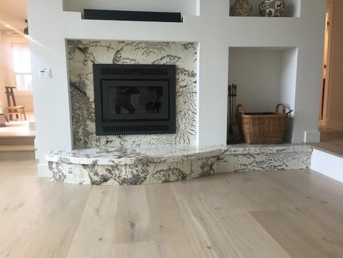 Alpine White granite fireplace