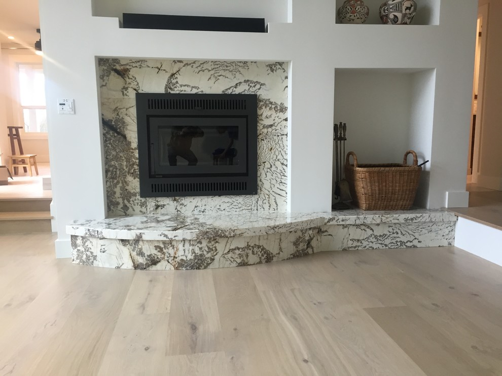 Light wood floor living room photo in Other with white walls, a standard fireplace and a stone fireplace