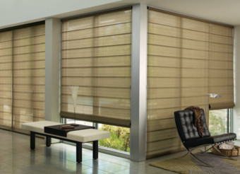 Alustra® Woven Textures® Roman Shades With UltraGlide® Modern Living Room Part 49