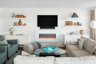 Midcentury Living Room With Vinyl Floors