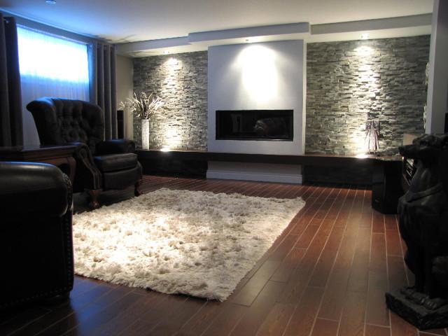am nagement d 39 un sous sol chic et contemporain. Black Bedroom Furniture Sets. Home Design Ideas