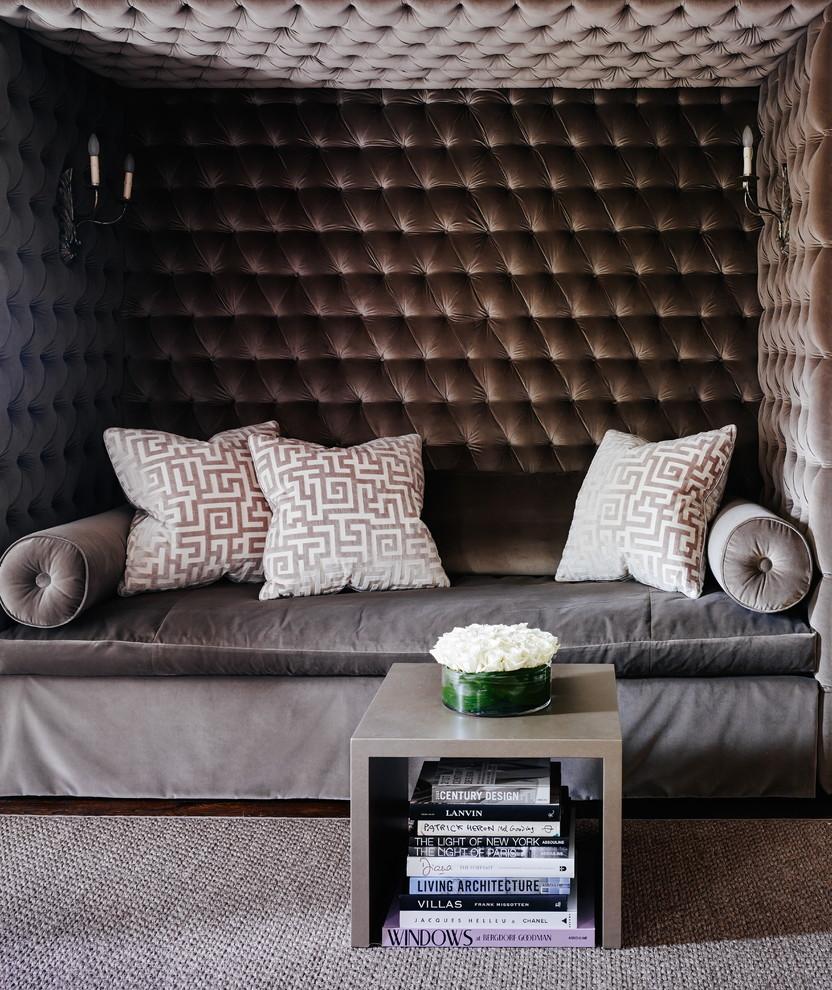 Living room - large transitional enclosed dark wood floor living room idea in Charlotte