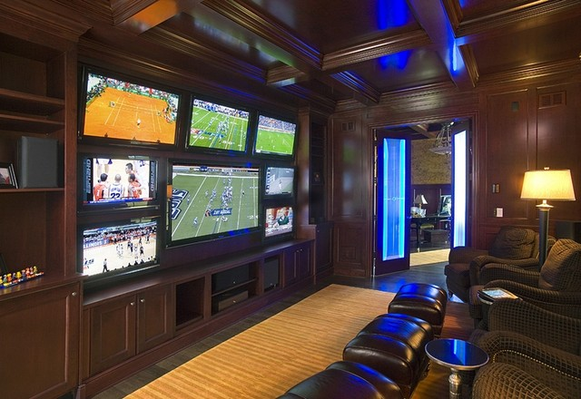 Man Cave Group : American cherry paneled club room with multiple tv screens