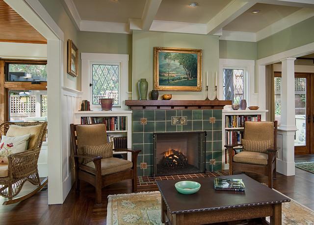 American Craftsman Traditional Living Room San Diego
