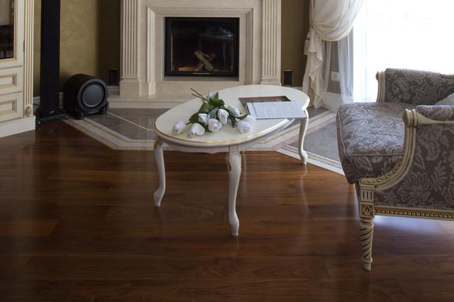 American Walnut Flooring Contemporary Living Room