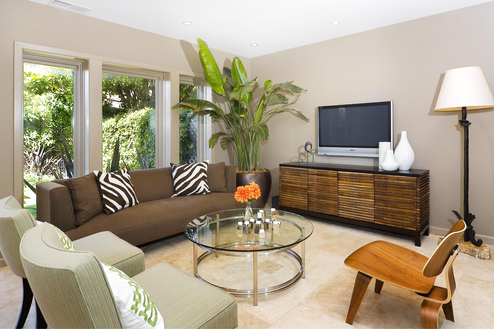Inspiration for a contemporary living room remodel in San Francisco with beige walls