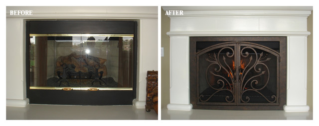 AMS Fireplace Doors Remodel Ideas traditional-living-room