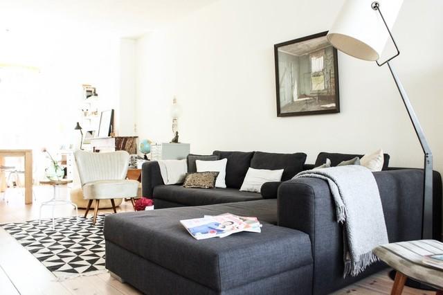 Trendy living room photo in Amsterdam