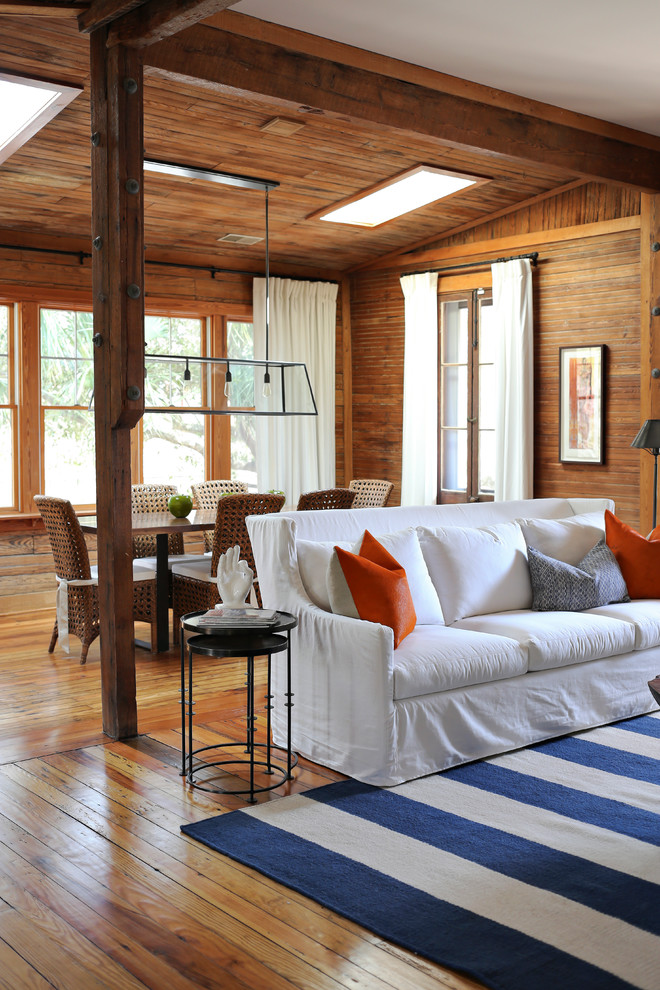 Example of a beach style living room design in San Francisco