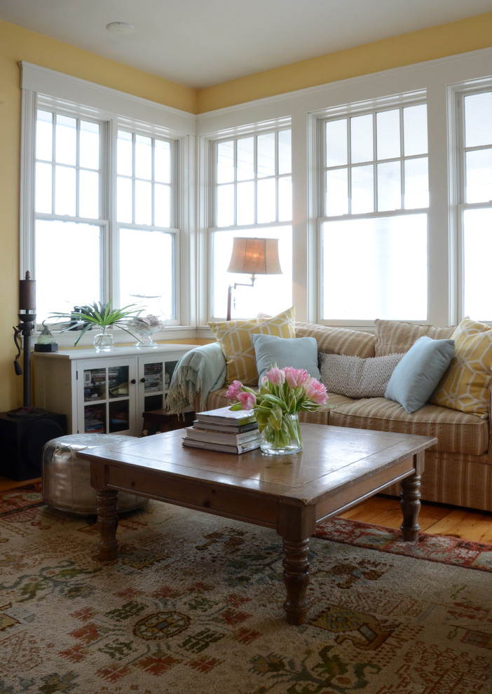 Inspiration for a coastal living room remodel in Boston