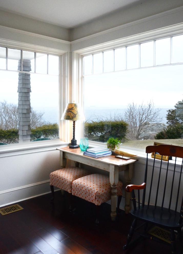 Beach style living room photo in Boston