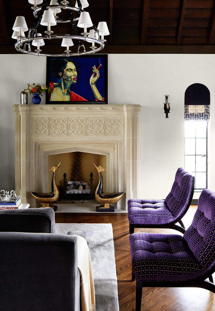 Trendy dark wood floor living room photo in San Francisco with white walls, a standard fireplace and no tv