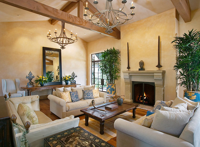Andalusian Custom Home Traditional Living Room Santa
