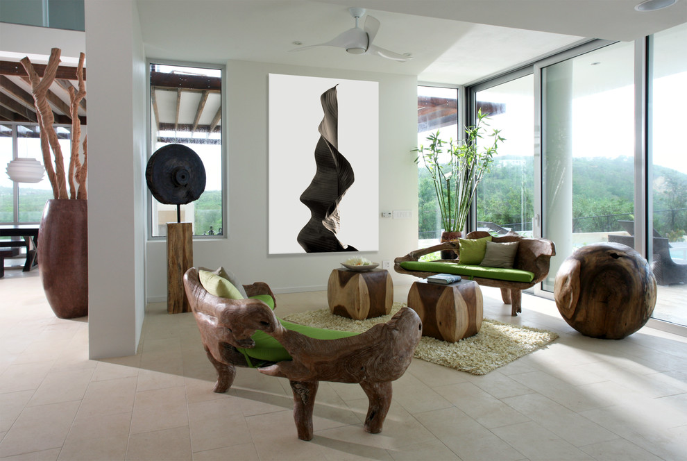 Inspiration for a contemporary beige floor living room remodel in Other with white walls