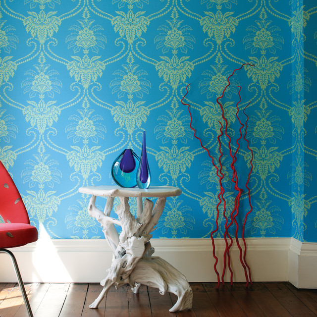 Anna french damask wallpaper contemporary living room for Damask wallpaper living room ideas