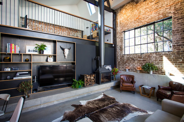 annandale converted warehouse industrial living room sydney by talbot 39 s services. Black Bedroom Furniture Sets. Home Design Ideas