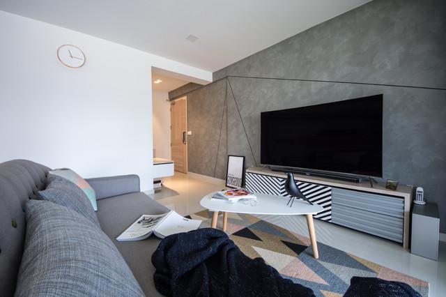 Exempel på ett minimalistiskt vardagsrum