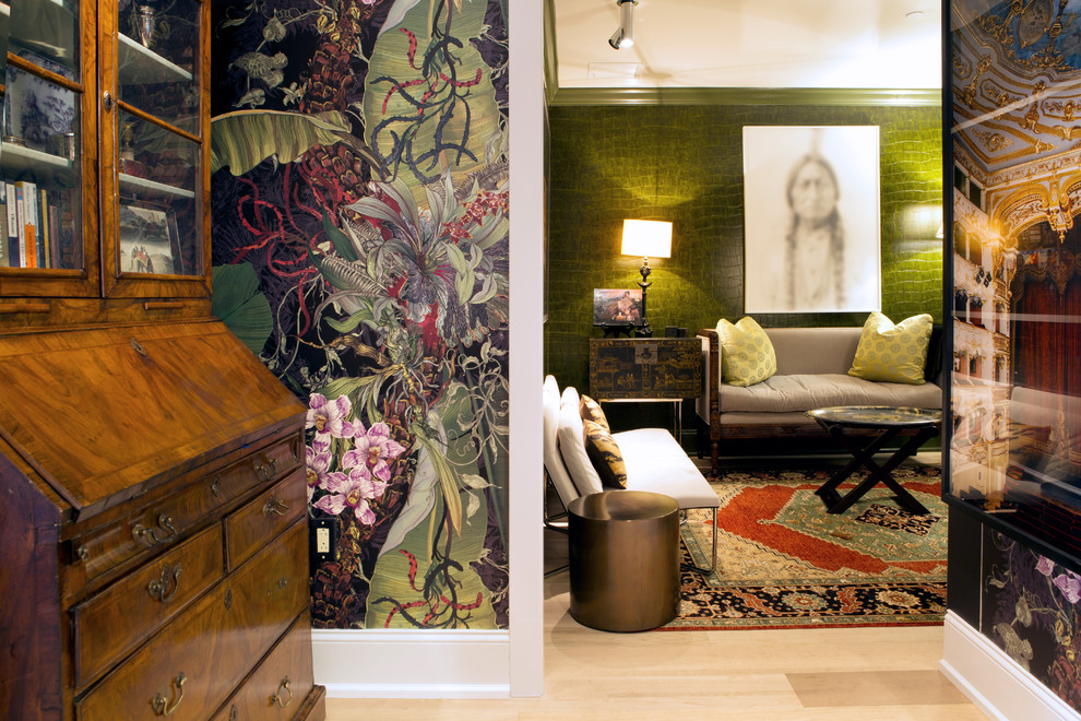 Inspiration for a mid-sized eclectic formal and enclosed beige floor and light wood floor living room remodel in Philadelphia with green walls, no fireplace and no tv