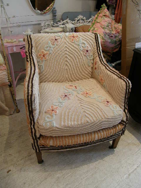 antique chair slipcovered with a deco vintage chenille bedspread eclectic living room