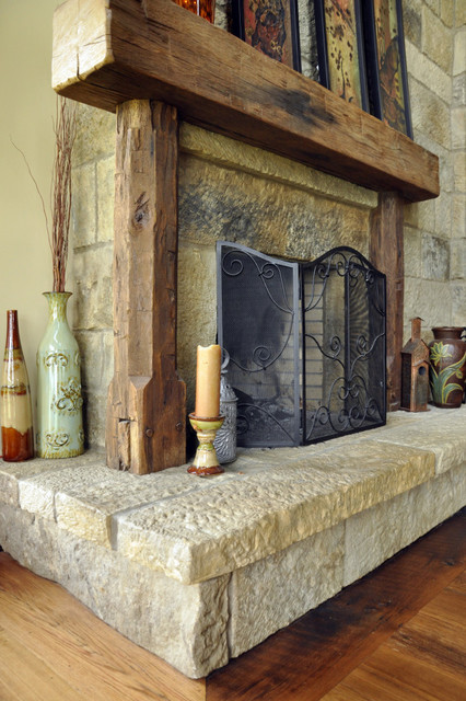 Antique fireplace mantels traditional living room for Reclaimed timber beams