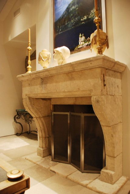 antique stone fireplace mantels mediterranean living room los