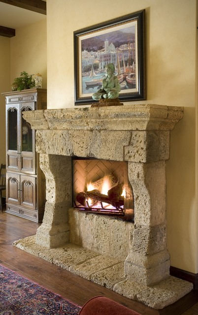 Antique Stone Fireplace Mantels Mediterranean Living Room Los Angeles By Neolithic