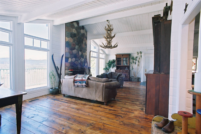 Antique Wood Flooring Rustic Living Room Calgary