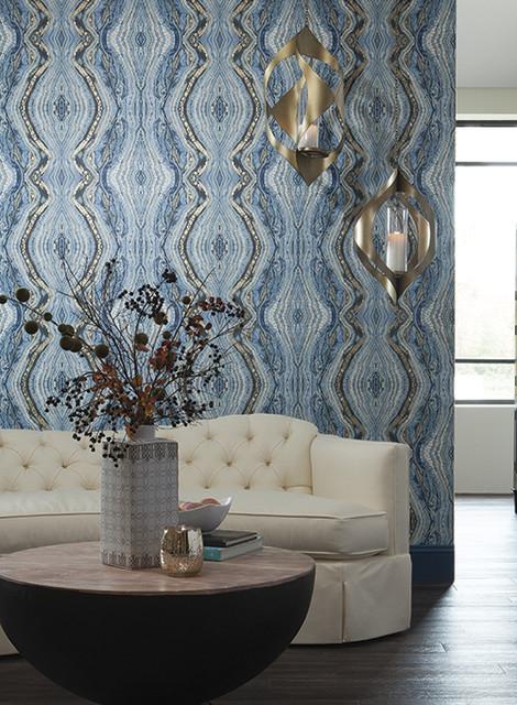 Antonina Vella Wallpaper Transitional Living Room