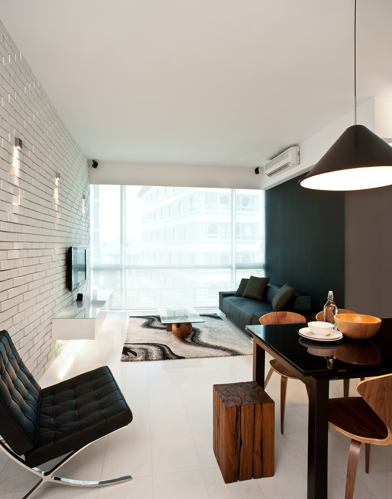Inspiration for a modern white floor living room remodel in Singapore with no fireplace, a wall-mounted tv and multicolored walls