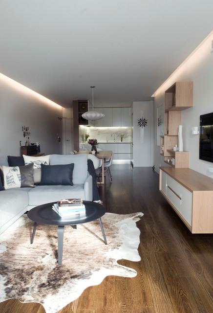 Living Room Mid Sized Modern Open Concept Medium Tone Wood Floor Idea