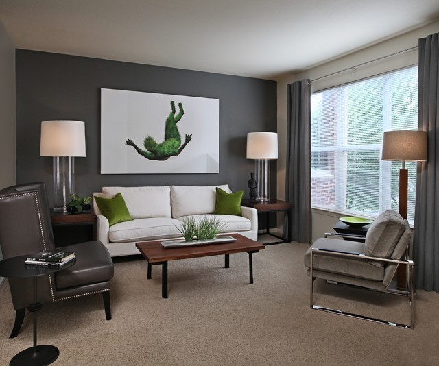 High Quality Example Of A Mid Sized Trendy Carpeted Living Room Design In Detroit With  Gray Walls