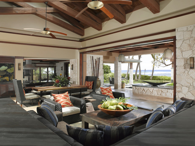 Applegate Tran Interiors Tropical Living Room Hawaii